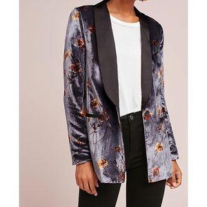 NWOT Anthropologie Velvet Floral Blazer